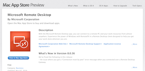 Click to view Microsoft Remote Desktop in the App Store