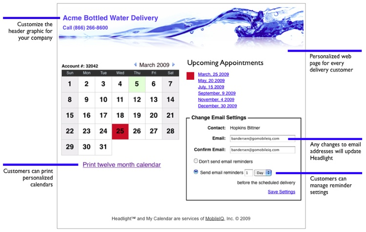 Web page calendar and delivery reminders